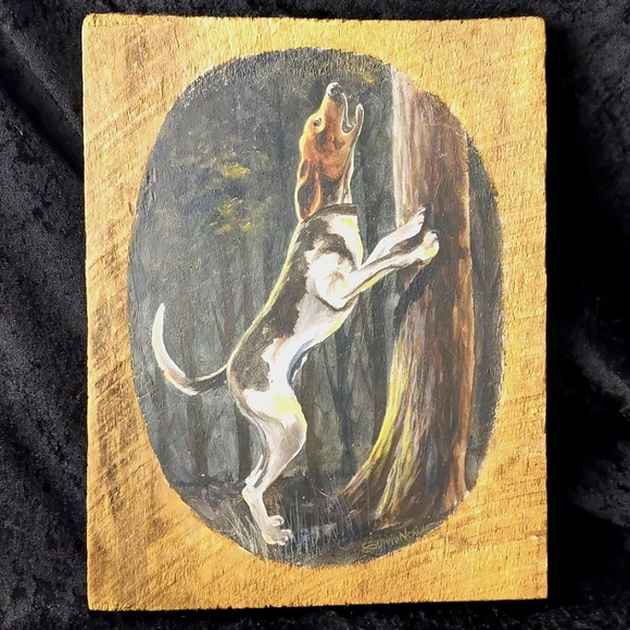 Coonhound painting on wood slab Sylvia Nowlin